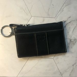 Coach authentic black leather key chain wallet